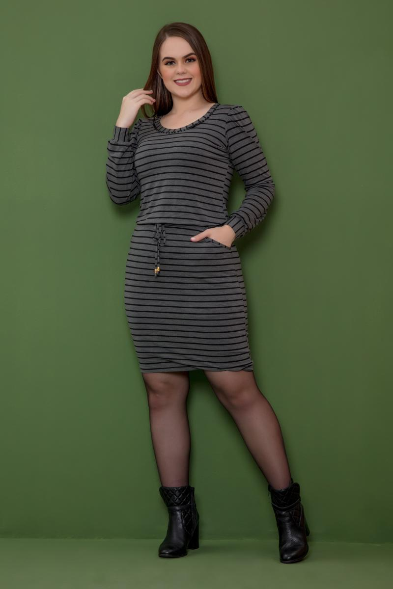 Vestido De Malha Com Elastico Com Perolas Na Gola, Moda Evangélica - Hadaza