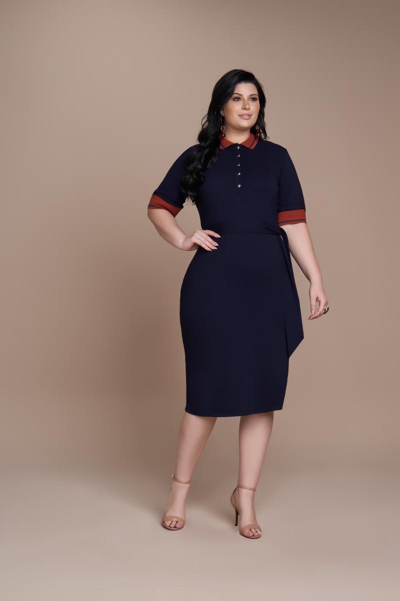 Vestido De Malha Denim Polo, Moda Evangélica - Titanium