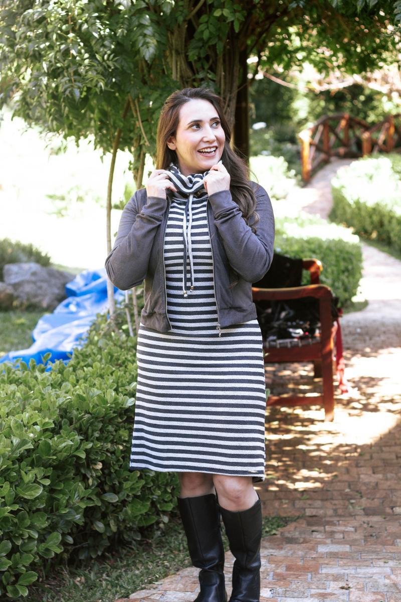 Vestido De Malha Gola Boba, Moda Evangélica - Titanium