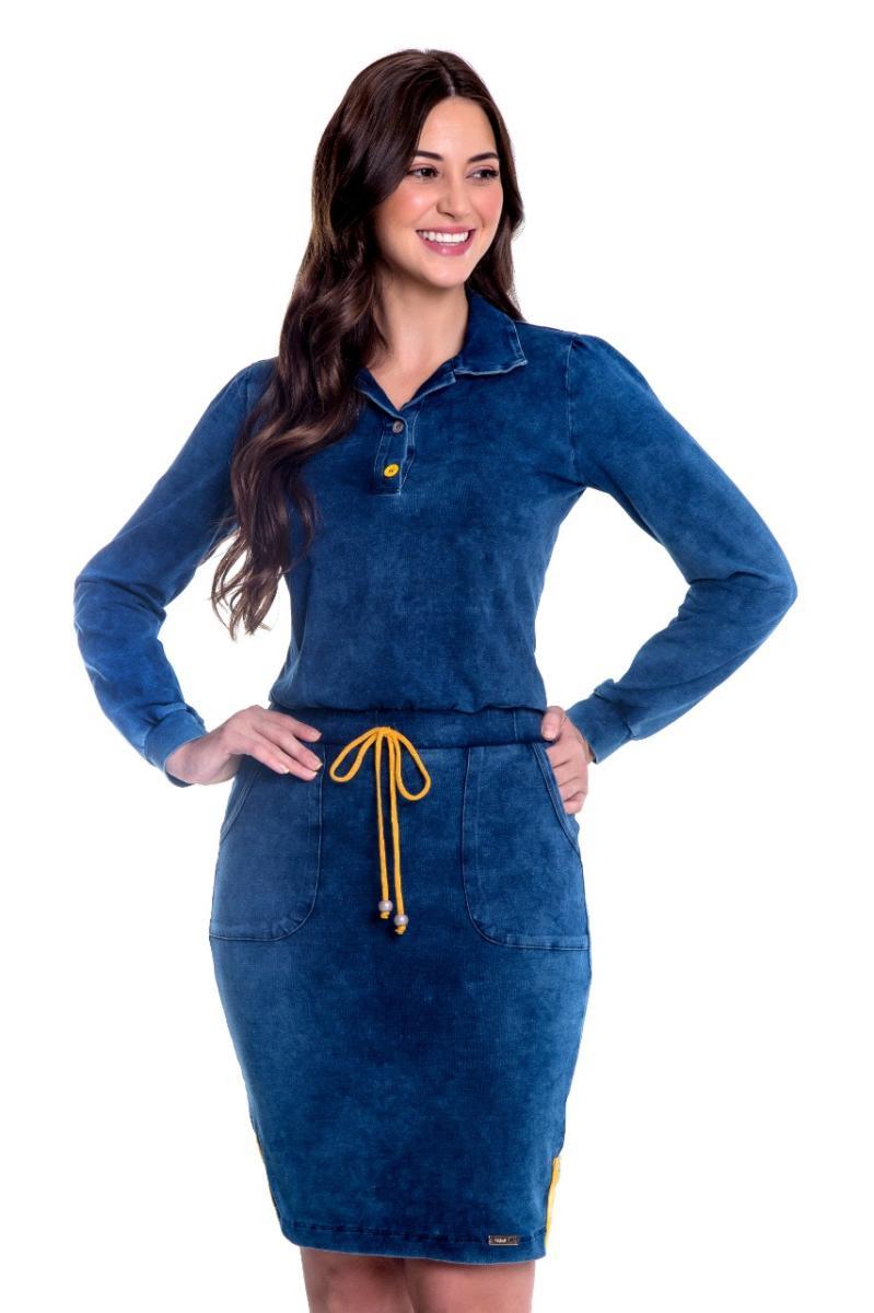 Vestido De Malha Jeans Com Elástico Na Cintura, Moda Evangélica - Hapuk