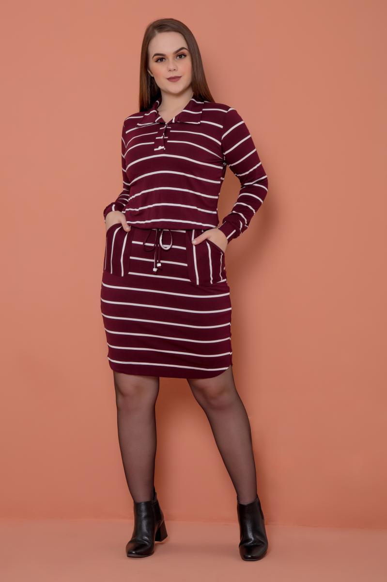Vestido De Malha Manga Longa, Moda Evangélica - Hadaza