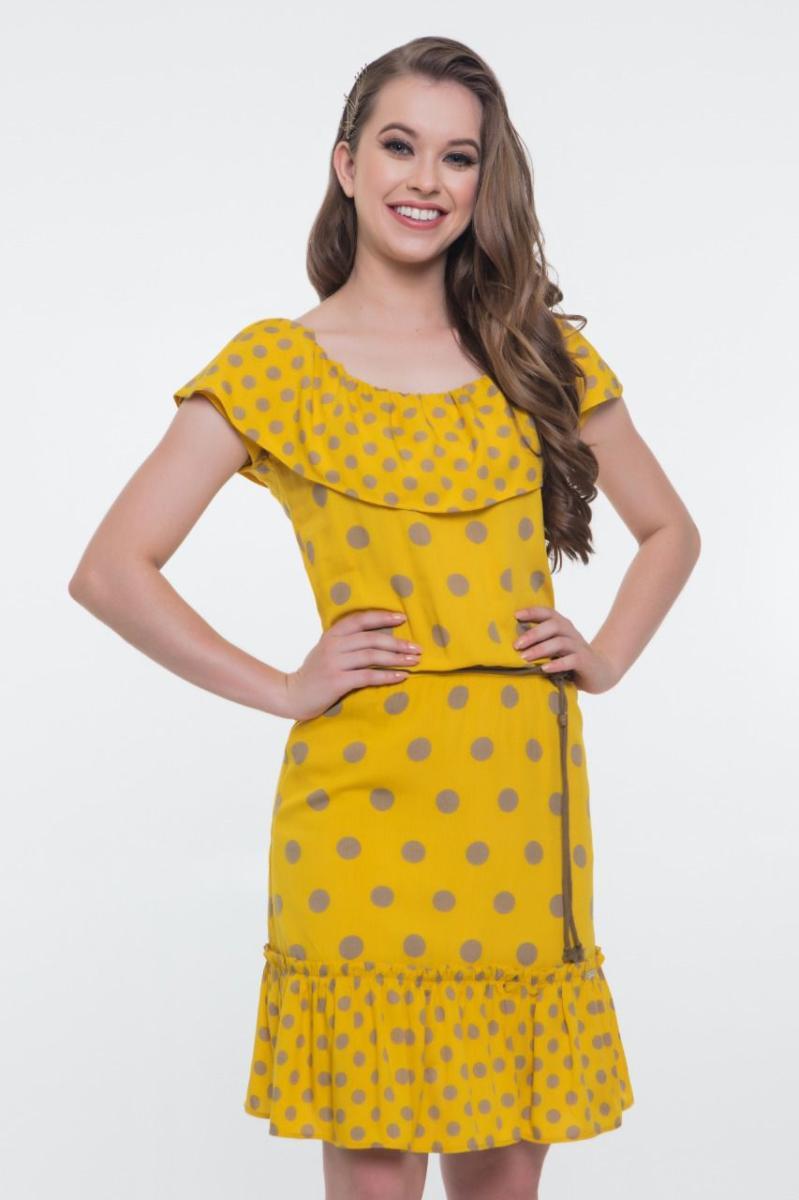 Vestido De Viscose Poá Com Babado - Hapuk