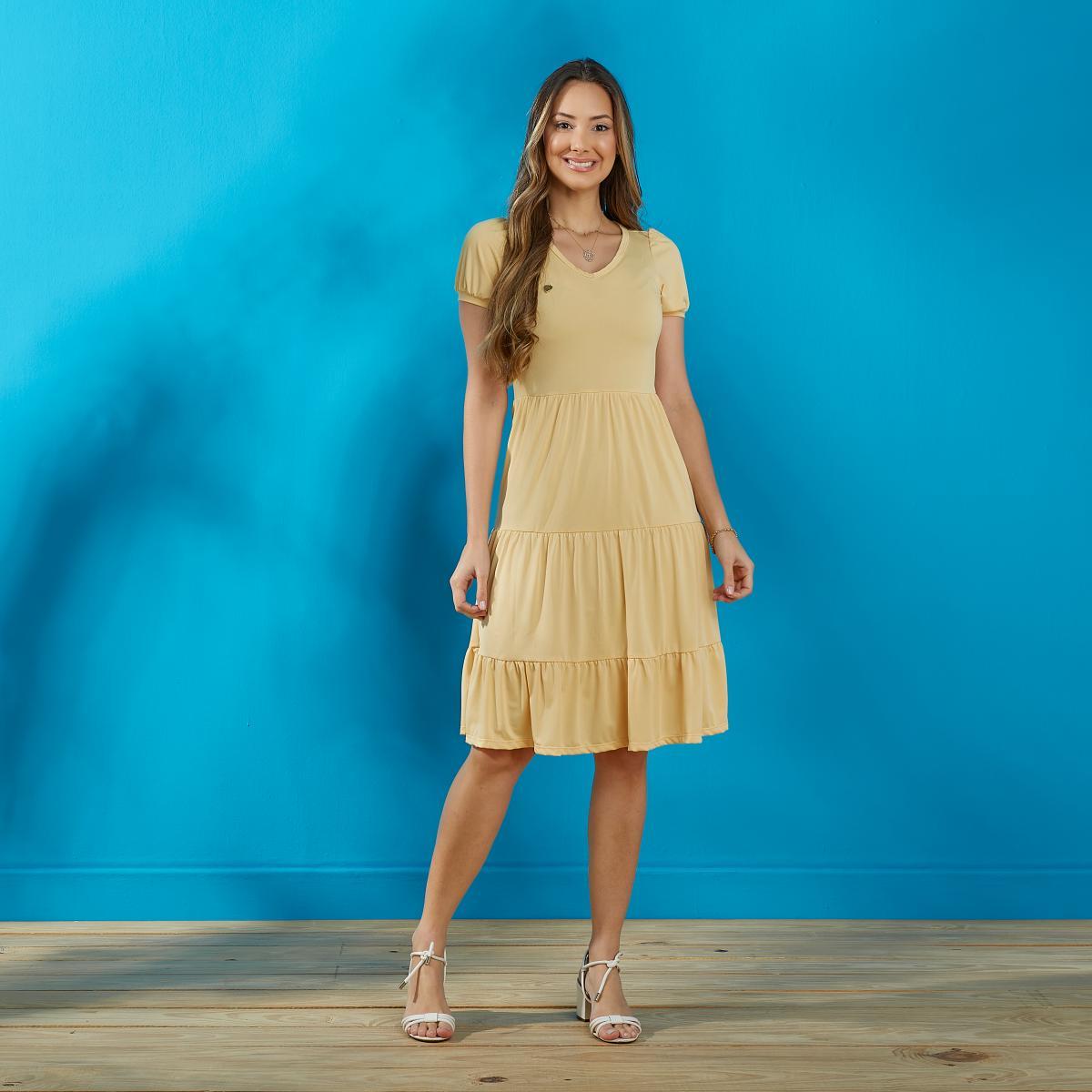 Vestido Dora Confeccionado No Crepe Sunset, Saia 3 Marias - Moda Evangélica - Tatá Martello