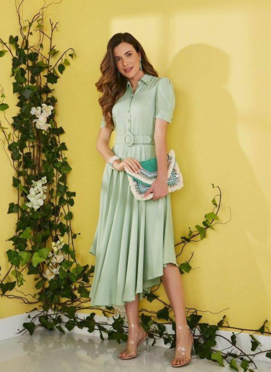 Vestido Erica Social Midi Barra Assimétrica, Moda Evangélica - Jany Pim