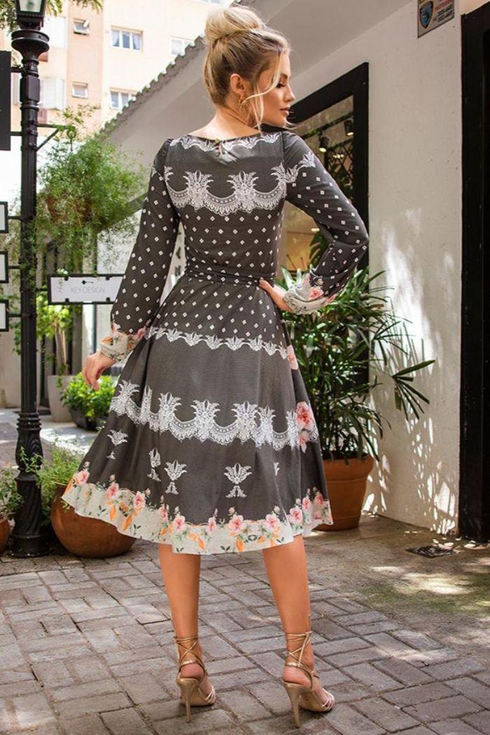 Vestido Evasê Estampado - Jany Pim