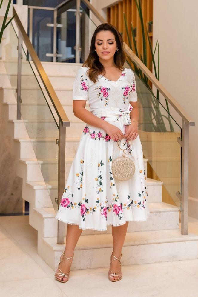 Vestido Evasê Floral - Jany Pim