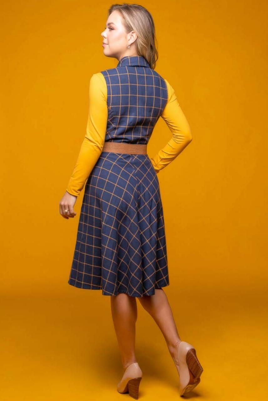 Vestido Evasê Xadrez com Cinto - Via Tolentino