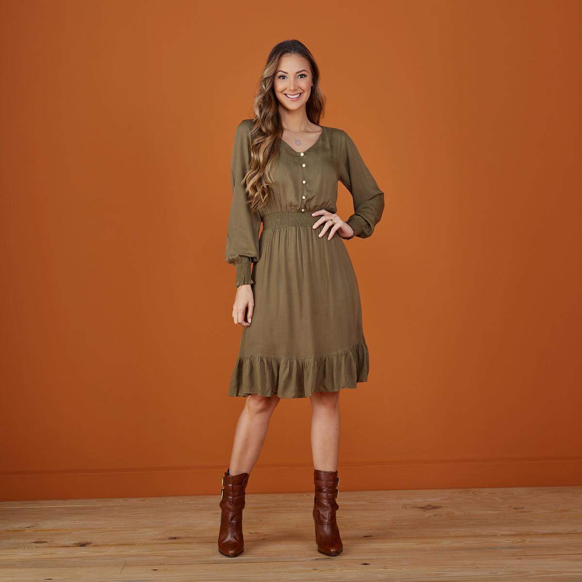 Vestido Fabiana Lastex na Cintura, Moda Evangélica - Tatá Martello