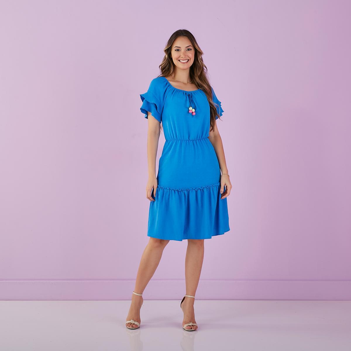 Vestido Gérbera De Crepe Decote Quadrado, Moda Evangélica - Tatá Martello