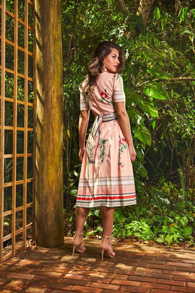 Vestido Godê Com Cinto Étnico - Jany Pim
