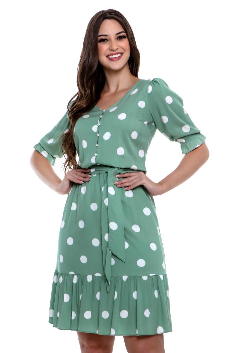 Vestido Heliara De Viscose Poá, Moda Evangélica - Hapuk