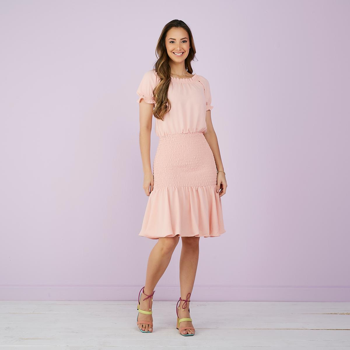 Vestido Hortência De Crepe Com Lastex, Moda Evangélica - Tatá Martello