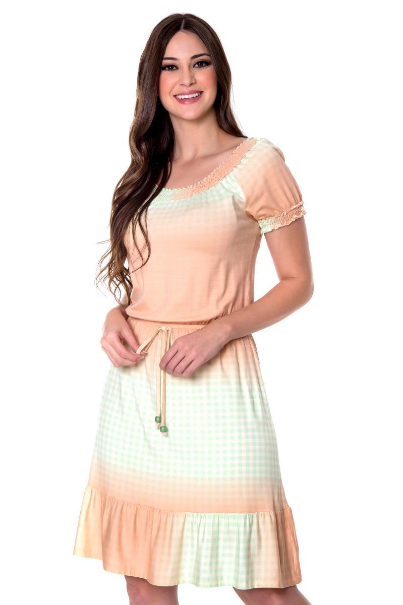 Vestido Inara em Malha com Padronagem Xadrez, Moda Evangélica - Hapuk