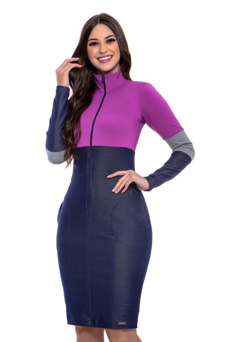 Vestido Isabeli Ziper Funcional Malha Denim, Moda Evangélica - Hapuk