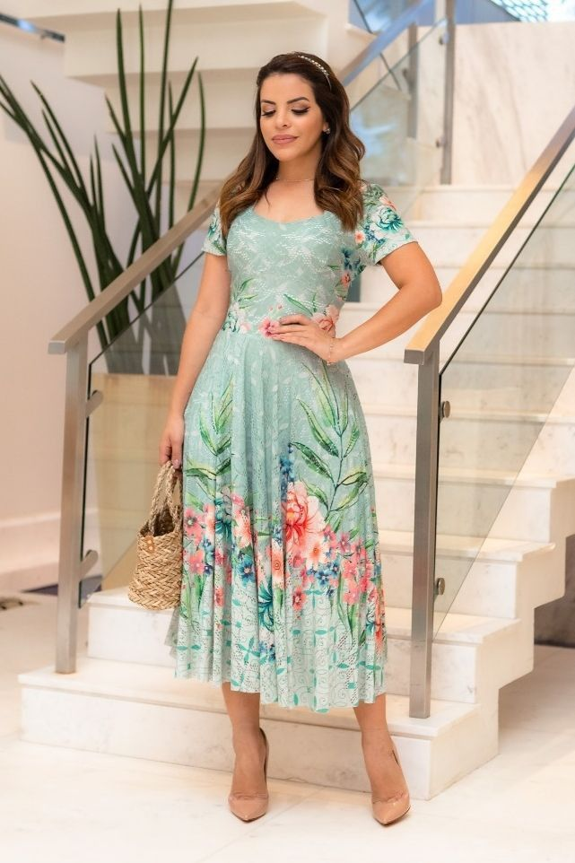 Vestido Jany Pim Midi Evasê Com Cinto Amadeirado - Jany Pim