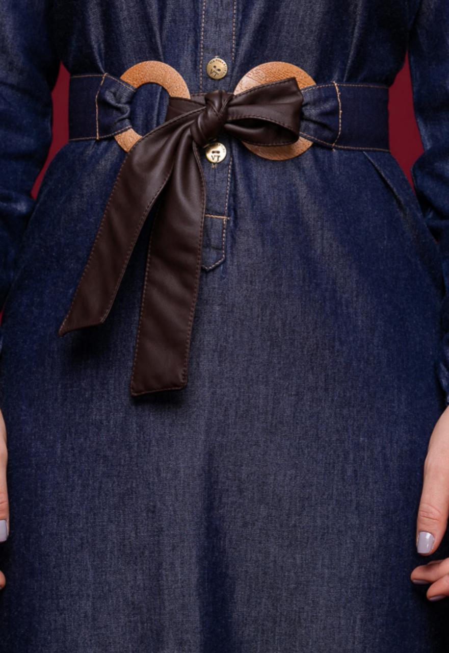 Vestido Jeans  Chamise com Babados e Cintos - Via tolentino