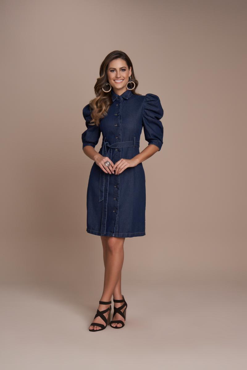 Vestido Jeans Com Botões Frontal, Moda Evangélica - Titanium
