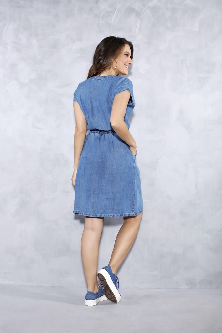 Vestido Jeans Com Elastico Na Cintura - Titanium