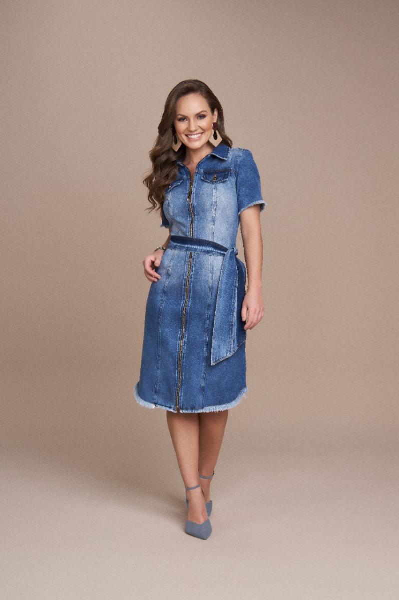 Vestido Jeans Com Ziper Frontal e Faixa, Moda Evangélica - Titanium