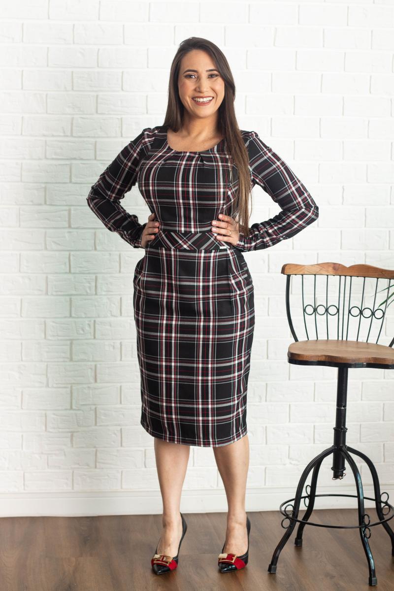 Vestido Justo Ashford Xadrez, Moda Evangélica - Cechiq