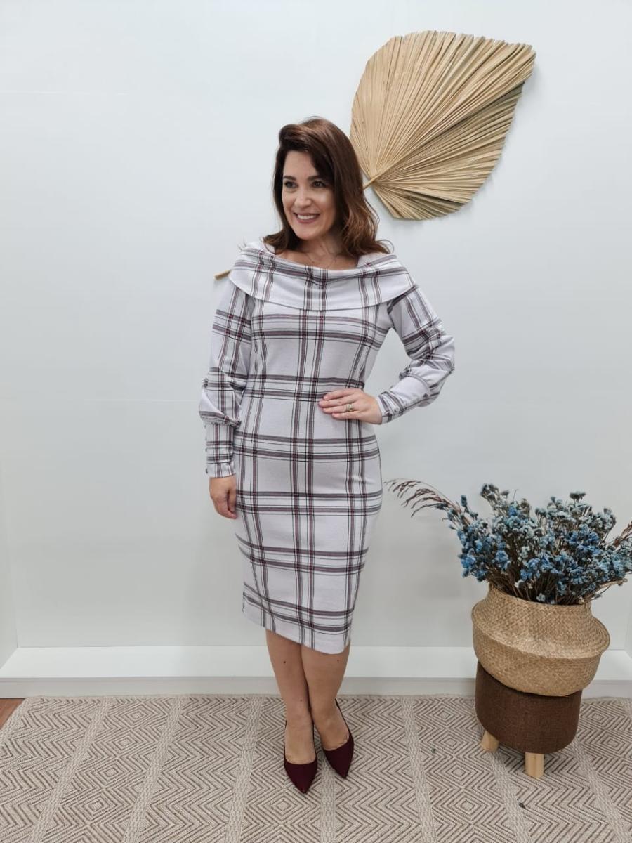 Vestido Justo Malha Xadrez, Moda Evangélica - Cechiq