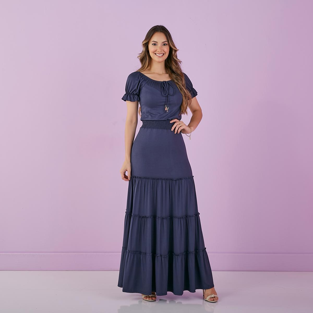 Vestido Katia Longo De Malha Com Lastex, Moda Evangélica - Tatá Martello