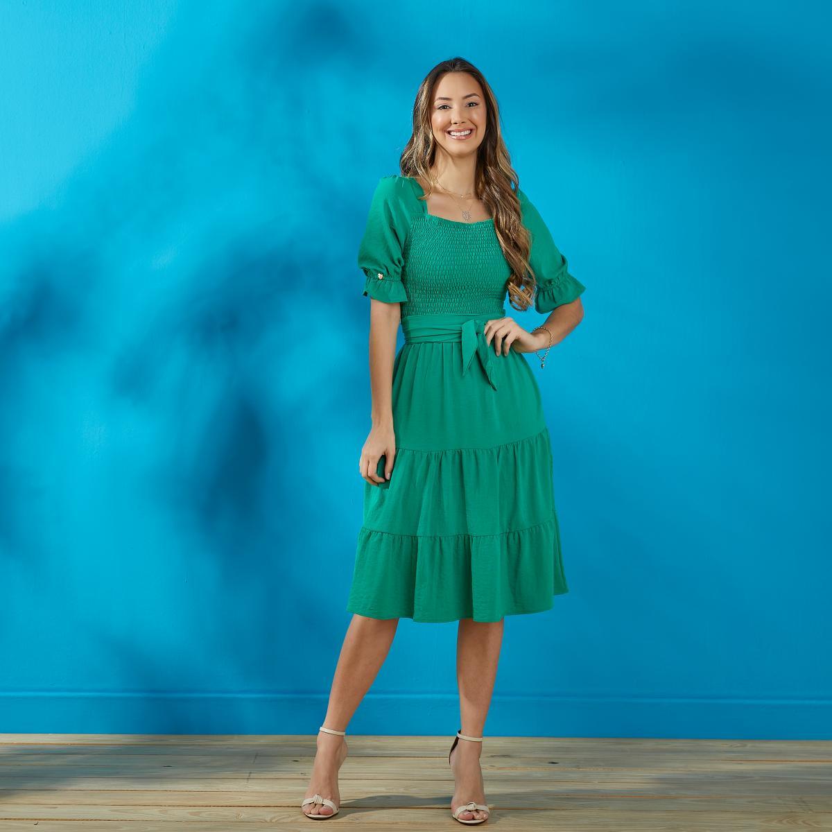 Vestido Kiara De Crepe Com Lastex No Busto, Moda Evangélica - Tatá Martello