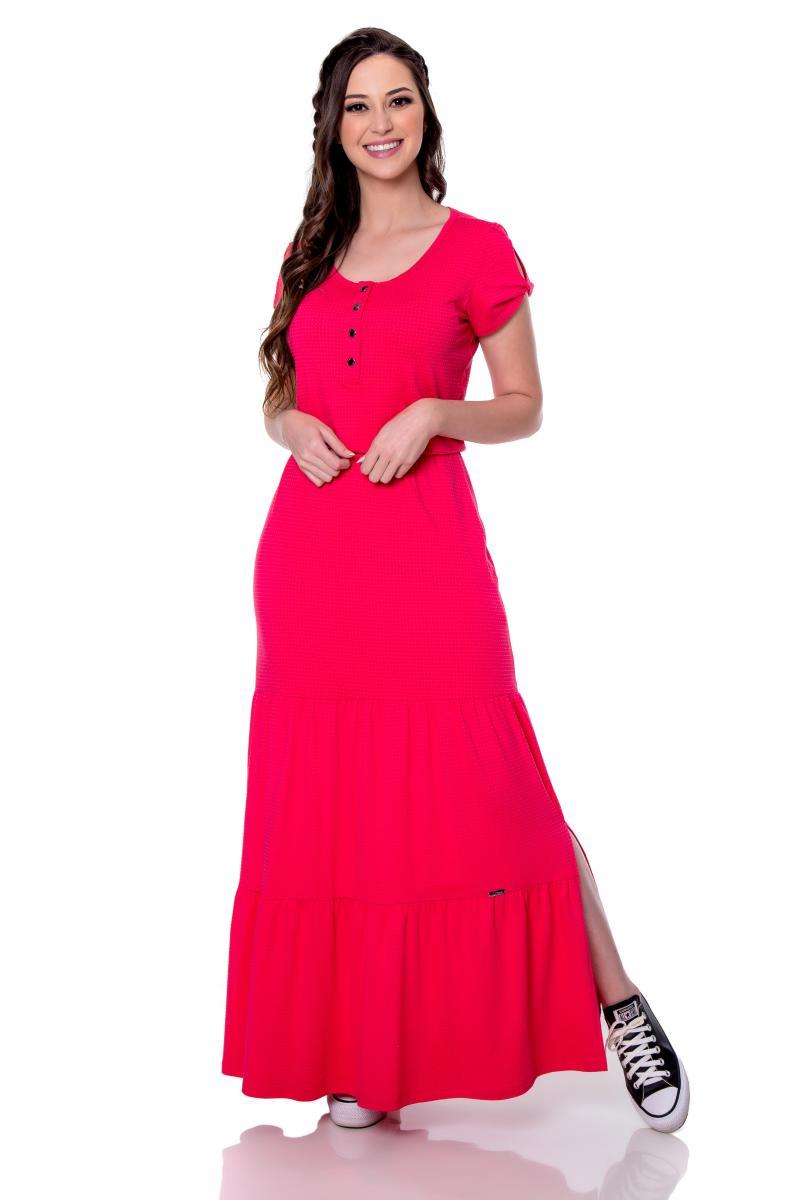 Vestido Laiane de Malha, Longo com Decote Redondo, Moda Evangélica - Hapuk