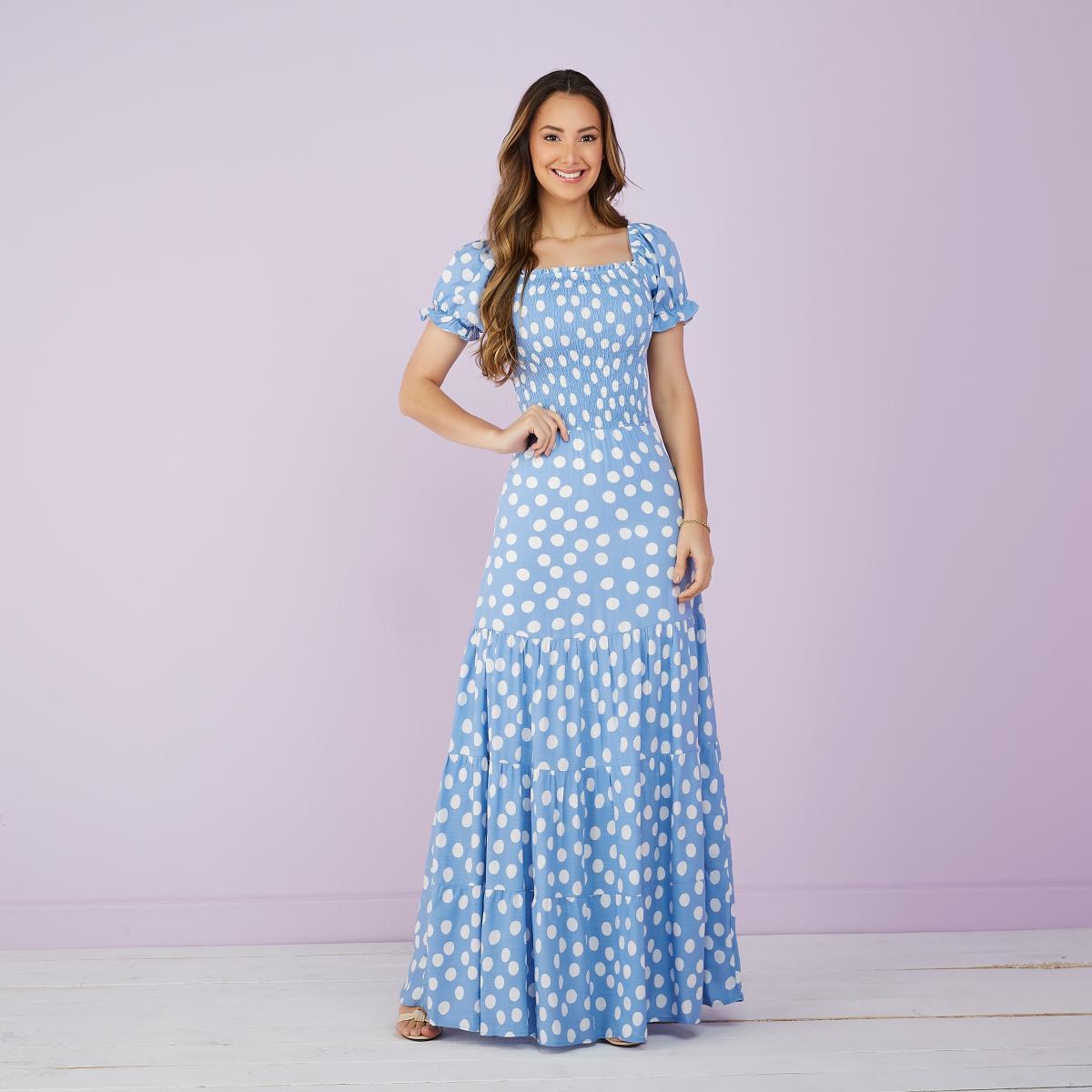 Vestido Livia Longo De Poá Com Lastex, Moda Evangélica - Tatá Martello