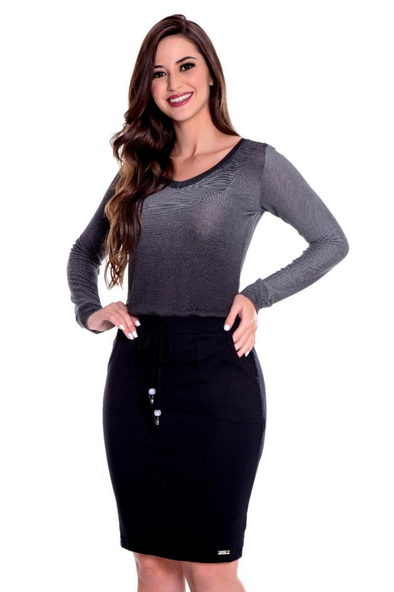 Vestido Liz De Malha Com Elastico No Cós, Moda Evangélica - Hapuk