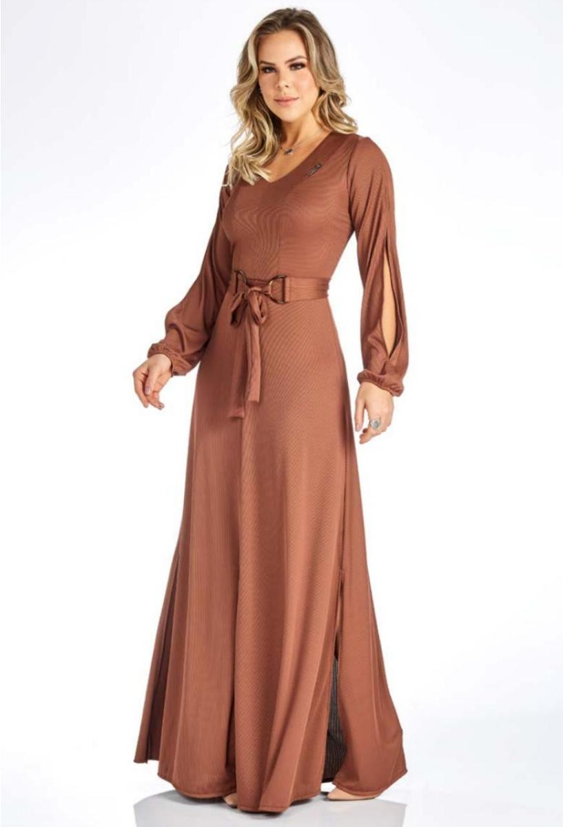 Vestido Longo Com Recortes - Via Tolentino