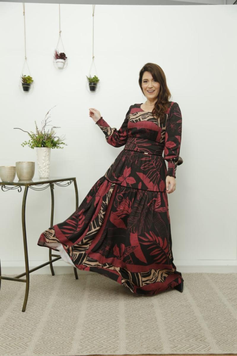Vestido Longo Viscose Estampada, Moda Evangélica - Cechiq