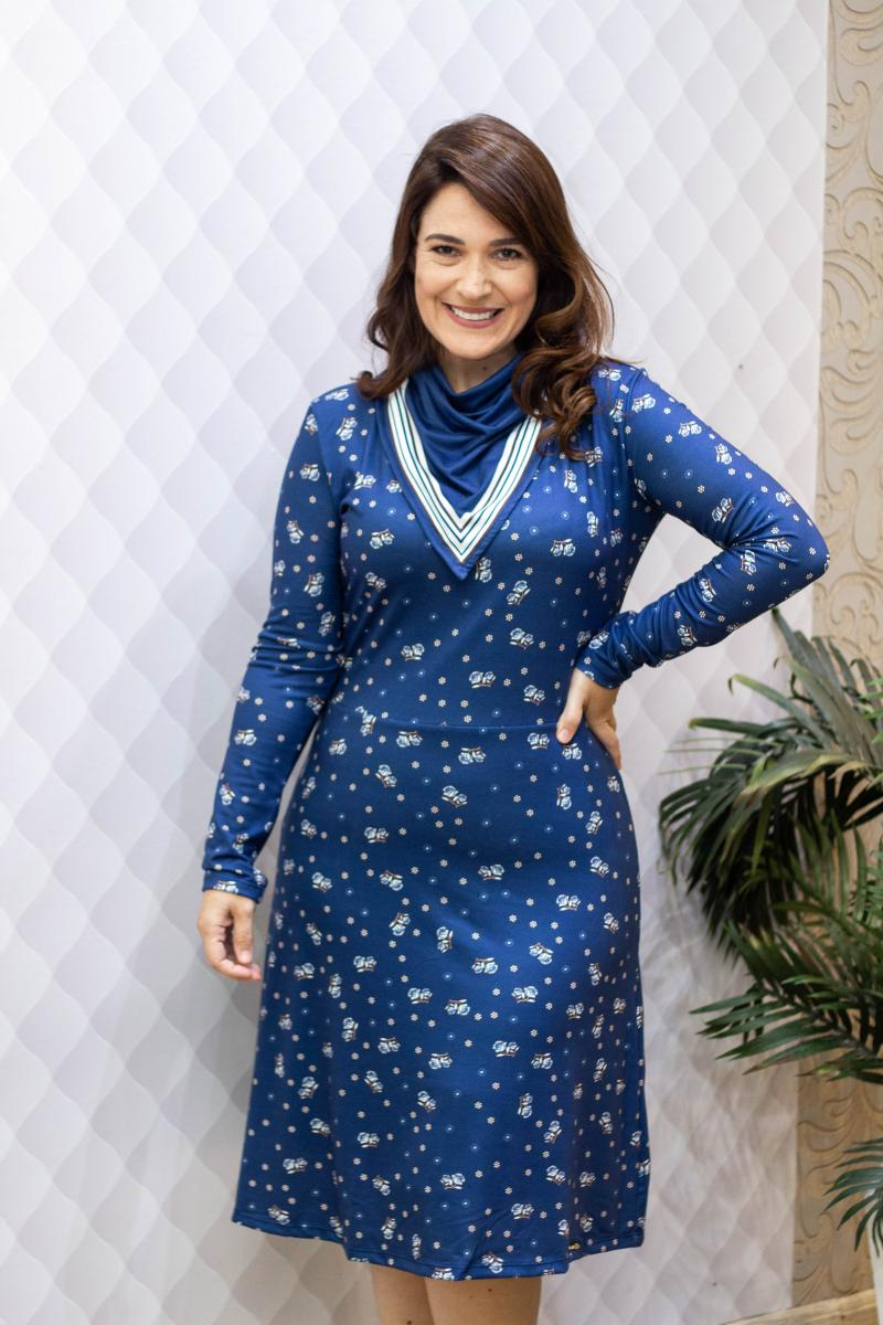 Vestido Malha Estampada 105cm, Moda Evangélica - Laura Rosa