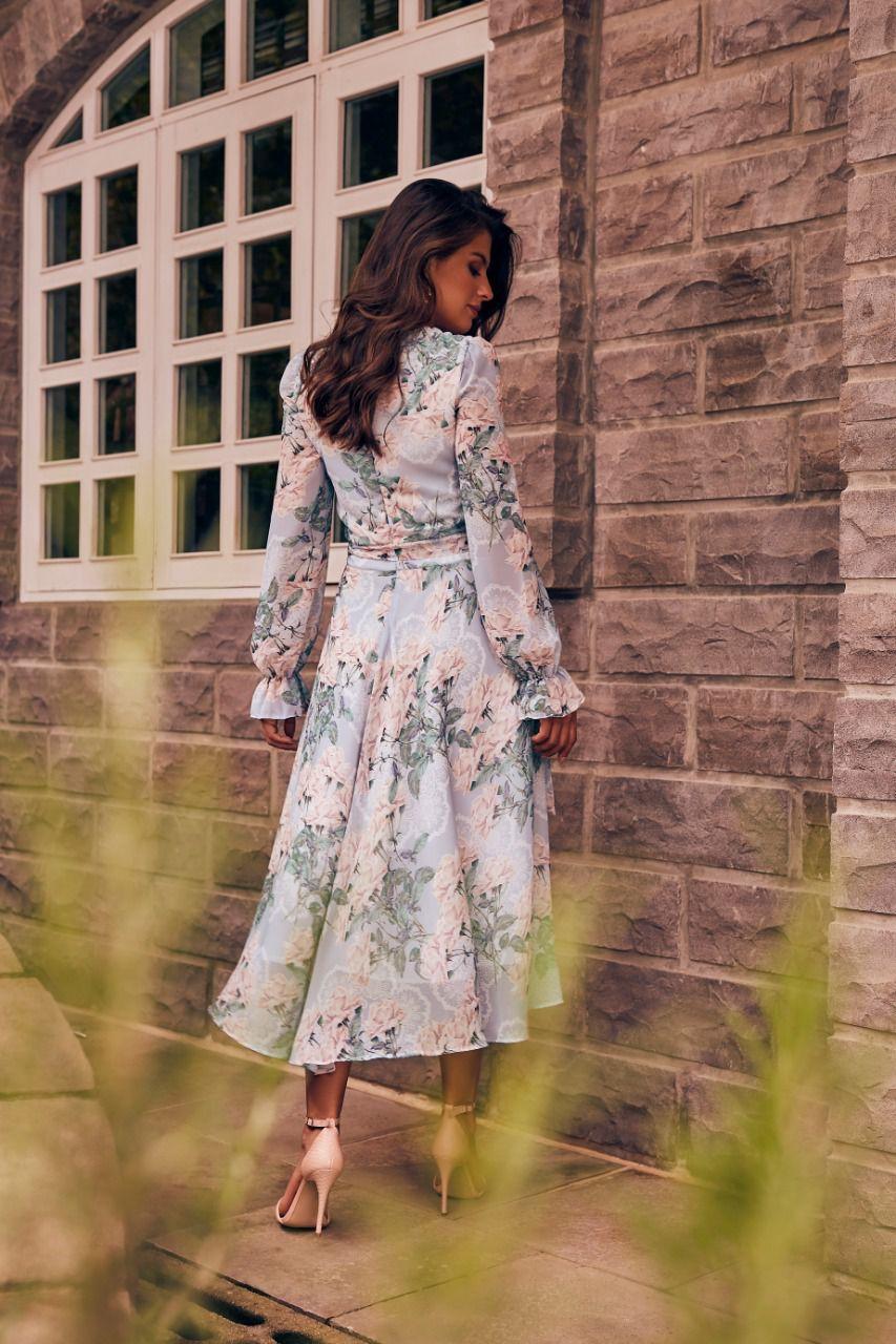 Vestido Midi Evasê Estampado - Jany Pim