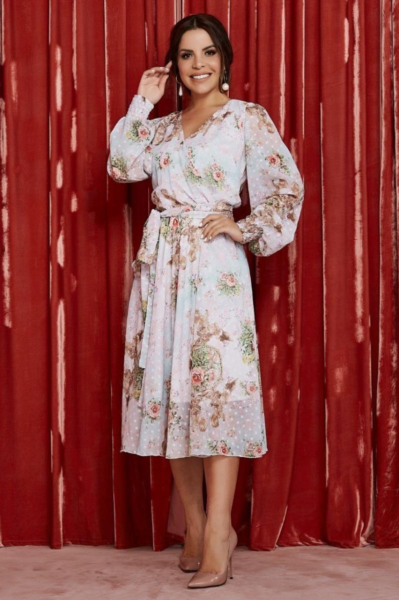 Vestido Midi Floral Transpassado - Jany Pim