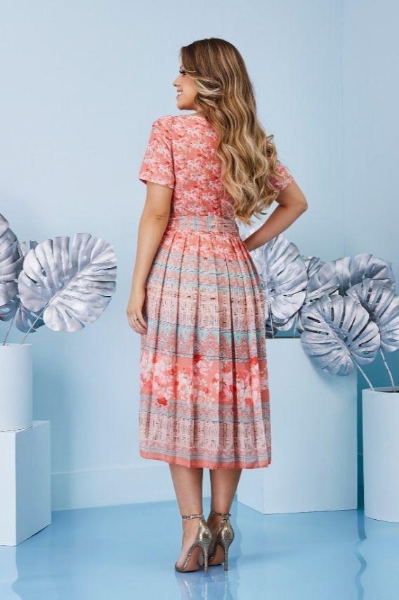 Vestido Midi Plissado Estampado - Jany Pim
