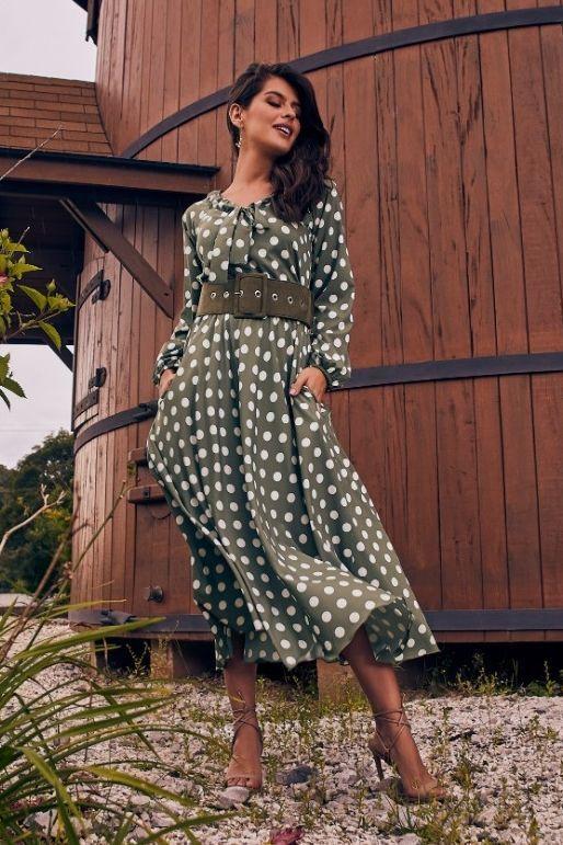 Vestido Midi Poá Com Laço Na Gola - Jany Pim