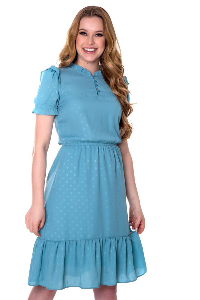 Vestido molie tecido plano padronagem poá, moda evangélica - hapuk