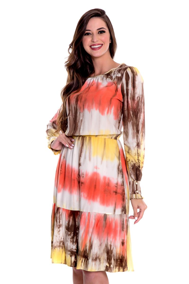 Vestido Patricia Em Viscose Tie Dye, Moda Evangélica - Hapuk