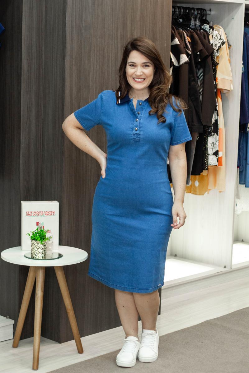 Vestido Polo Jeans 105cm, Moda Evangélica - Laura Rosa