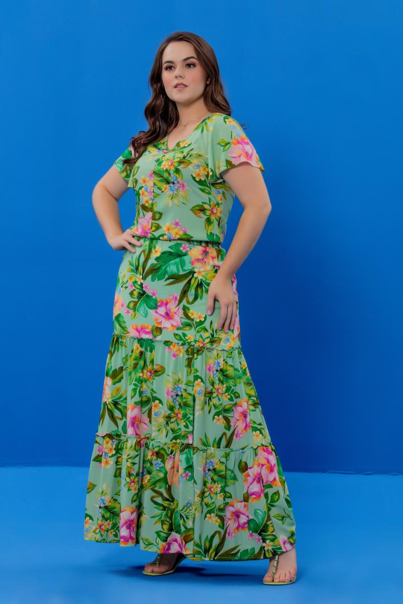 Vestido Social LOngo Com Detalhe de Botões, Moda Evangélica - Hadaza