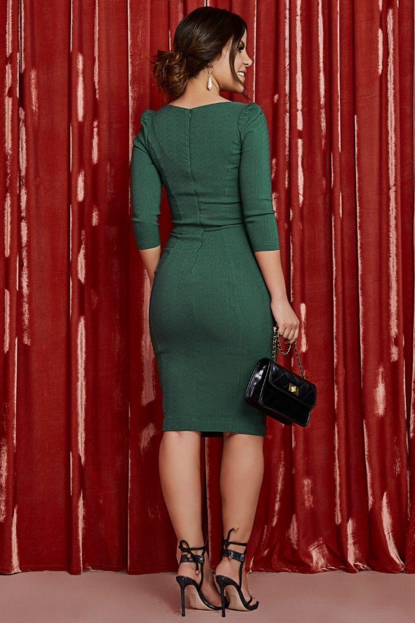 Vestido Tubinho Com Recortes - Jany Pim