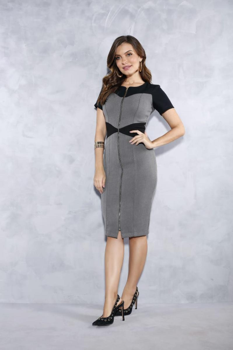 Vestido Tubinho Com Ziper Frontal - Titanium