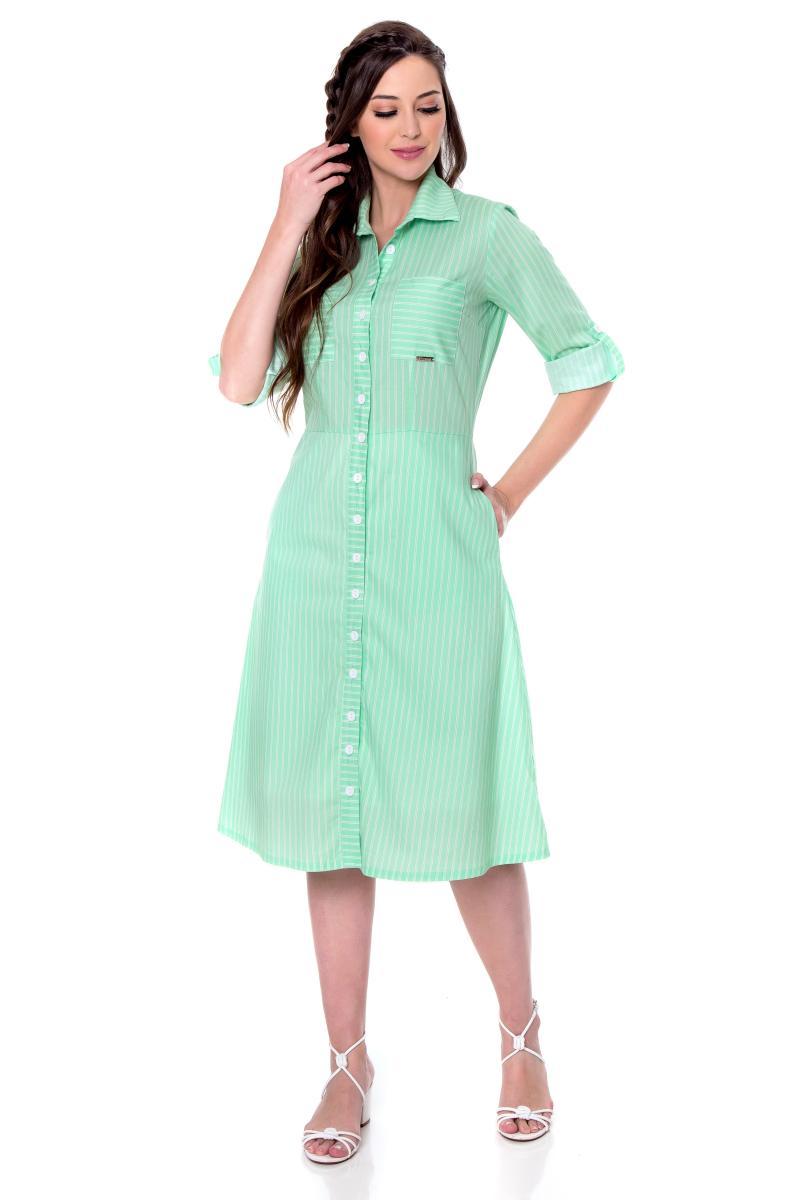Vestido Valentina Tricoline Com Padronagem de Listras, Moda Evangélica - Hapuk