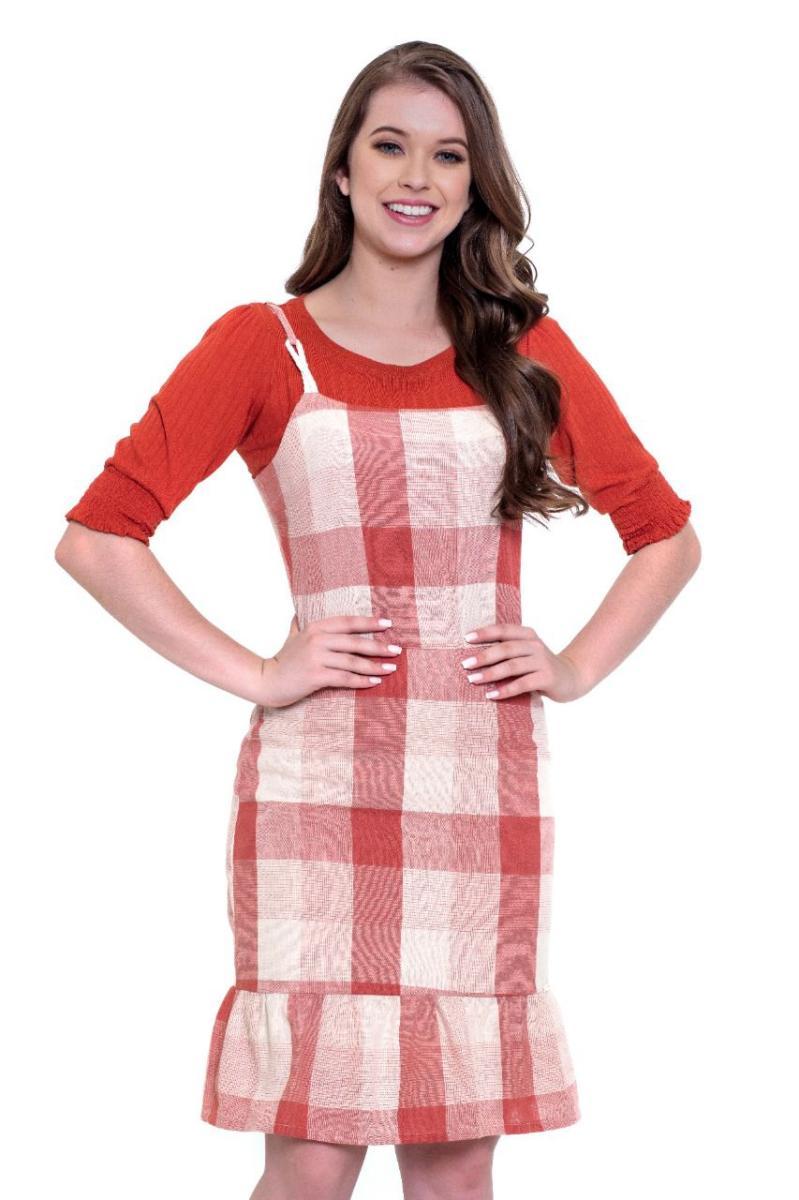 Vestido Xadrez com Blusa - Hapuk