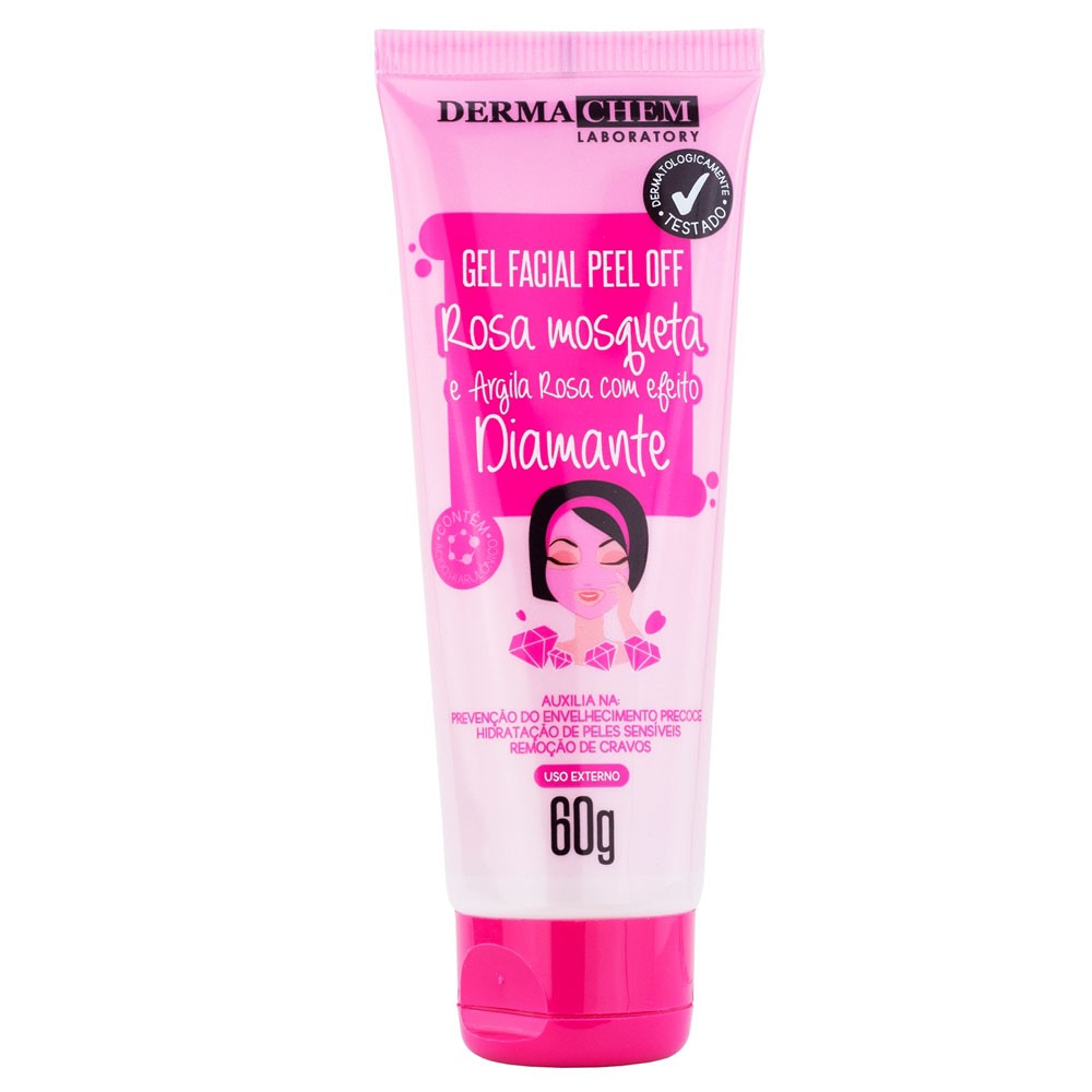 Gel Facial Peel Off Rosa Mosqueta e Argila Rosa - Dermachem  - Caroline Gil Cosméticos