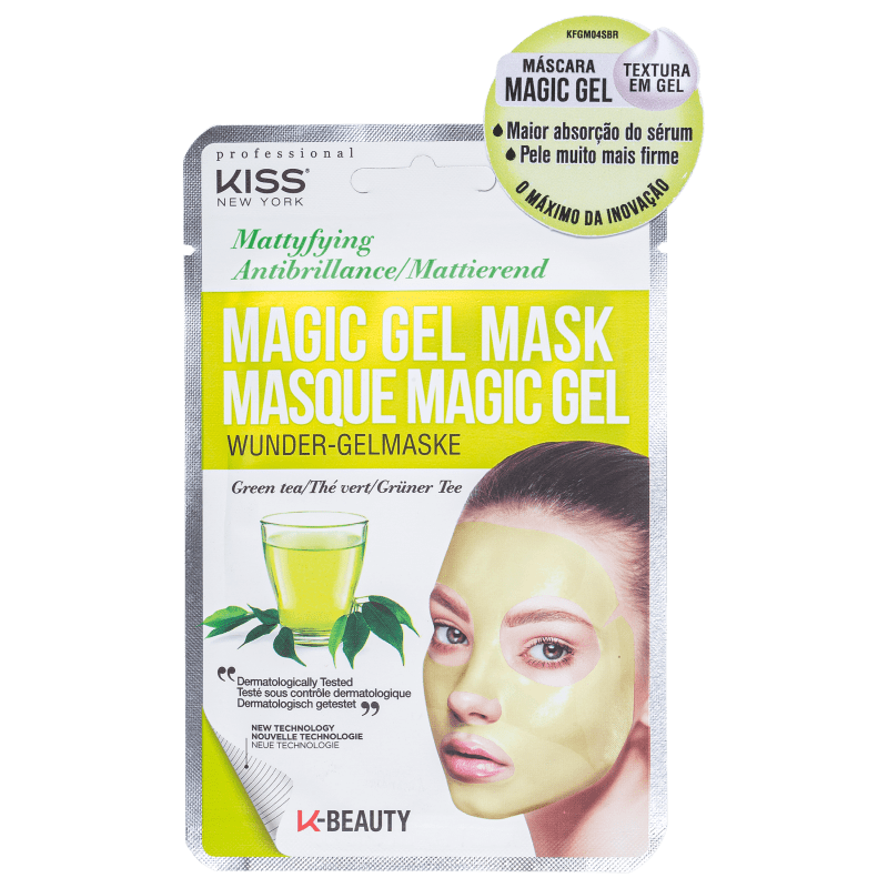 Máscara Facial Magic Gel Chá Verde - Kiss New York  - Caroline Gil Cosméticos