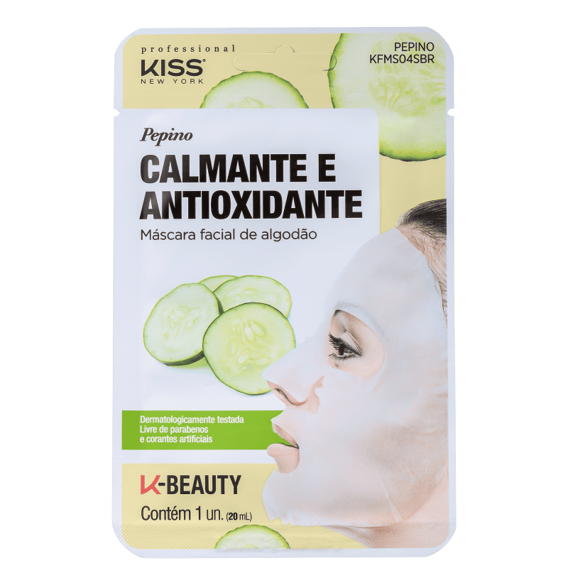 Máscara Facial Pepino Calmante e Antioxidante - Kiss New York