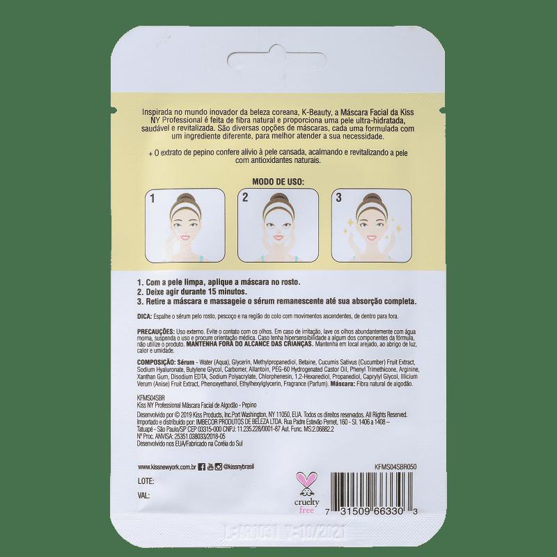 Máscara Facial Pepino Calmante e Antioxidante - Kiss New York  - Caroline Gil Cosméticos