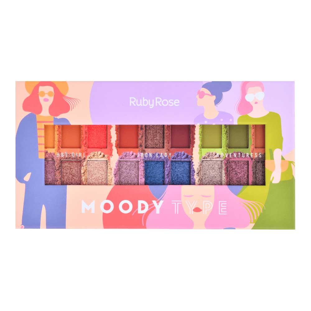 Paleta de Sombras Moody Type Ruby Rose  - Caroline Gil Cosméticos